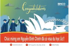 BINCO lại được chúc mừng em Nguyễn Đình Chính đã được cấp visa du học dài hạn