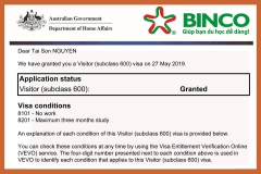 BINCO xin chúc mừng ba em học sinh Nguyễn Đình Chính, Nguyễn Văn Hải và Nguyễn Tài Sơn đã được cấp visa du học hè Úc