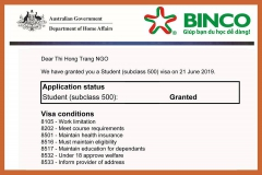 BINCO xin chúc mừng em NGÔ THỊ HỒNG TRANG đã may mắn đạt visa thẳng đi du học Úc