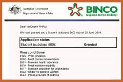 BINCO xin chúc mừng em Phạm Vũ Doanh đã được cấp visa du học Úc thẳng