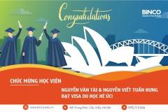 Xin chúc mừng 2 em học sinh Nguyễn Viết Tuấn Hưng và Nguyễn Văn Tài đã may mắn giành được visa du học hè