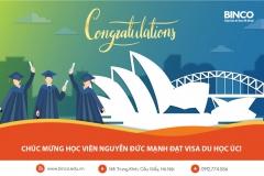 BINCO xin chúc mừng em Nguyễn Đức Mạnh đã được cấp visa du học Úc chỉ sau 2 ngày nộp hồ sơ