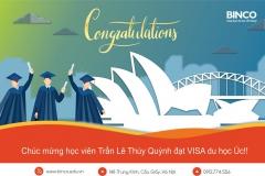 BINCO xin chúc mừng em Trần Lê Thuý Quỳnh đã được cấp visa du học sau khi tiếp kiến cuộc phỏng vấn với viên chức lãnh sự kéo dài 40 phút