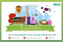BINCO xin chúc mừng em NGUYỀN THUỲ LINH đã được cấp visa du học Hàn Quốc.