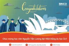 BINCO xin chúc mừng em NGUYỄN TIẾN LƯƠNG đã đạt visa du học Úc sau cuộc phỏng vấn kéo dài 25 phút