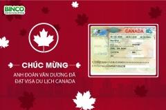 BINCO xin chúc mừng anh Đoàn Văn Dương và chị Nguyễn Thị Khuyên đã được cấp visa du lịch Canada