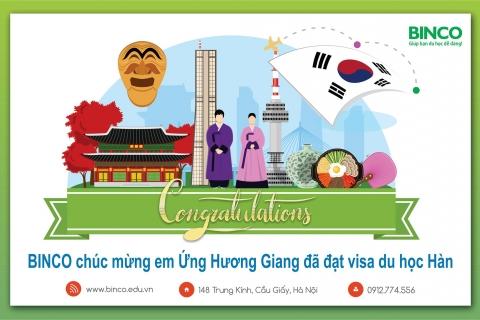 BINCO xin chúc mừng em Ứng Hương Giang đã được cấp visa du học Hàn Quốc