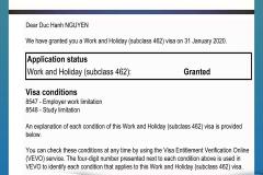 BINCO xin chúc mừng em Nguyễn Đức Hạnh đã được cấp visa làm việc kết hợp với kỳ nghỉ tại Úc.