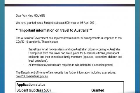 BINCO xin chúc mừng em Nguyễn Văn Hiệp đã được cấp visa du học Úc