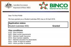 Chúc mừng bạn Phạm Thị Kha đã được cấp visa du học Úc