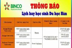 Binco thông báo lịch bay học sinh du học Hàn kỳ nhập học tháng 3/2019