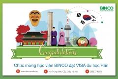 BINCO xin Chúc mừng 3 em học sinh là Lưu Hữu Vinh, Nguyễn Thị Hạnh và Vũ Thị Xuyên đã được cấp visa du học Hàn Quốc