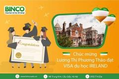 BINCO xin chúc mừng em Lương Thị Phương Thảo đã được cấp visa du học Ireland.