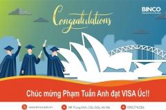 BINCO xin chúc mừng em Phạm Tuấn Anh đã có visa du lịch Úc.