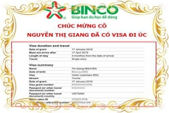 Chúc mừng cô Nguyễn Thị Giang ĐÃ CÓ VISA ĐI ÚC thăm thân du lịch