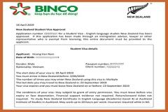 BINCO xin chúc mừng em Hoàng Văn Nam đã nhận được visa du học New Zealand.