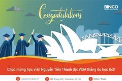 BINCO chúc mừng em Nguyễn Tiến Thành chàng trai đến từ Hải Dương đã có visa thẳng du học Úc