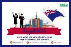 BINCO xin chúc mừng em Lưu Ngọc Dũng đã được cấp visa du học New Zealand