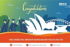 BINCO xin chúc mừng em Ngô Quang Đại đã nhận được visa du học Úc tại thành phố Sydney xinh đẹp