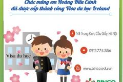 BINCO xin được chúc mừng em Hoàng Hữu Cảnh đã được cấp thành công visa du học Ireland
