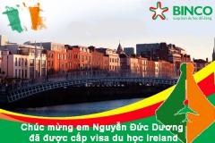 BINCO xin chúc mừng em Nguyễn Đức Dương đã được cấp visa du học Ireland